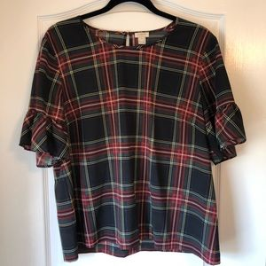 J.Crew Black & Red Plaid Ruffle Sleeve Tee